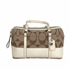Coach authentic white signature handbag purse